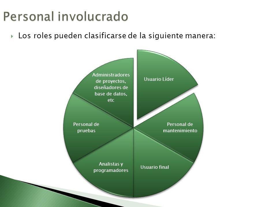 Personal involucrado Los roles pueden clasificarse de la siguiente manera: Usuario Líder. Personal de mantenimiento.