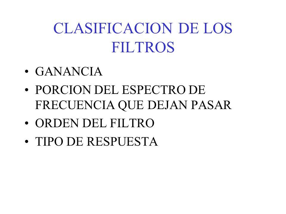 CLASIFICACION DE LOS FILTROS
