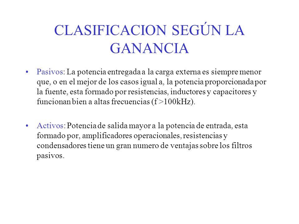 CLASIFICACION SEGÚN LA GANANCIA