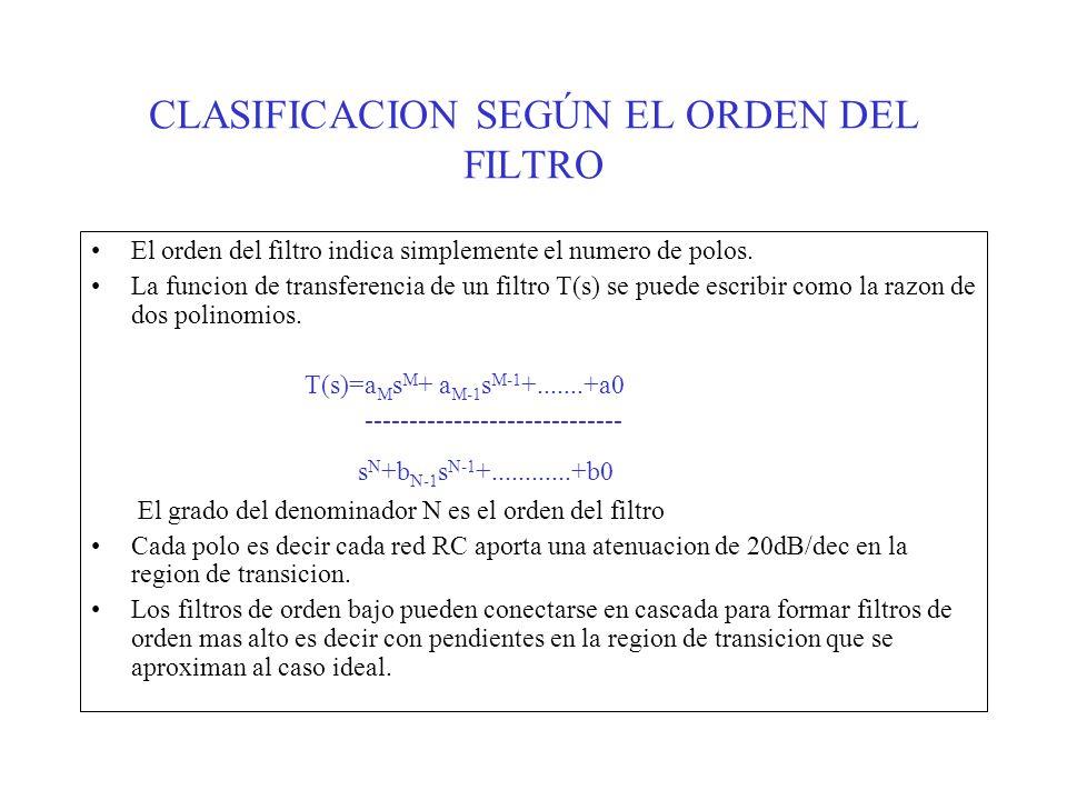 CLASIFICACION SEGÚN EL ORDEN DEL FILTRO