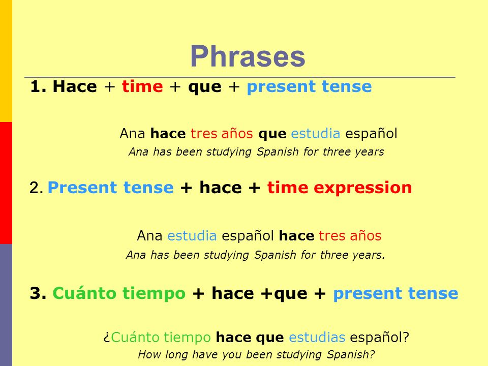 Phrases 1. Hace + time + que + present tense