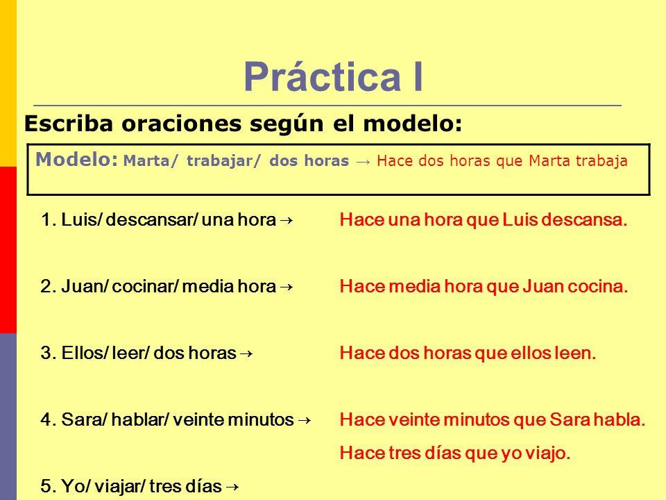 Práctica I Escriba oraciones según el modelo: