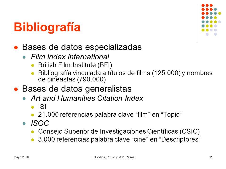 Bibliografía Bases de datos especializadas Bases de datos generalistas
