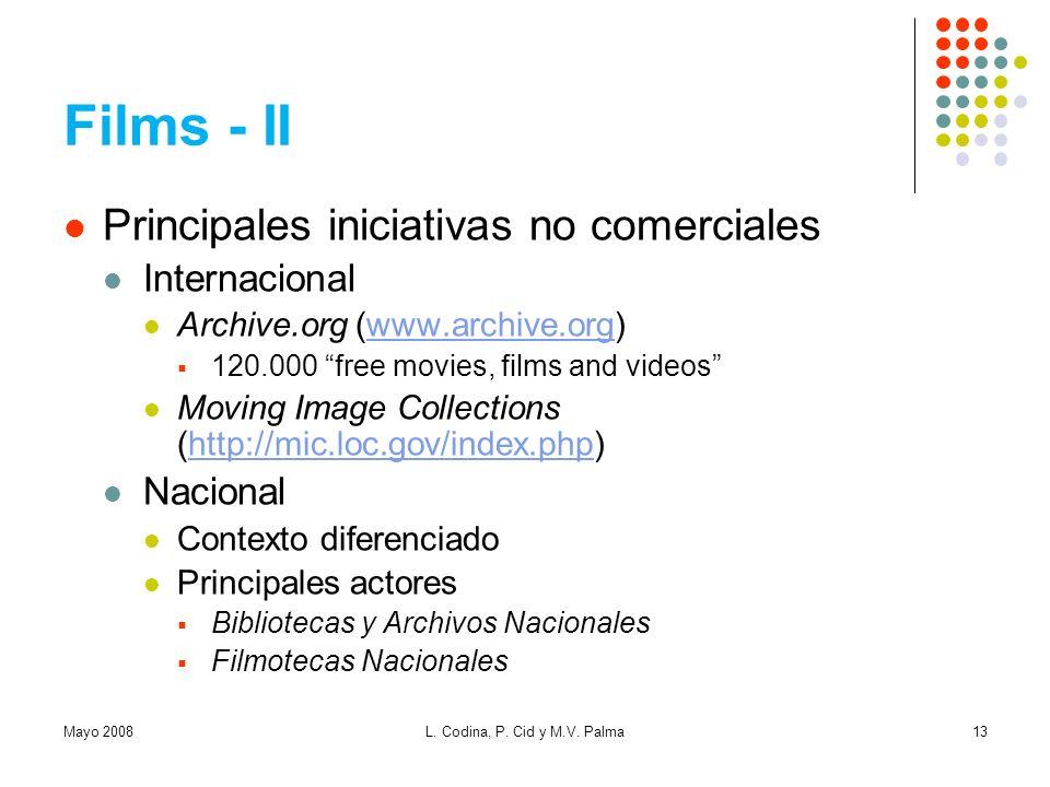 Films - II Principales iniciativas no comerciales Internacional