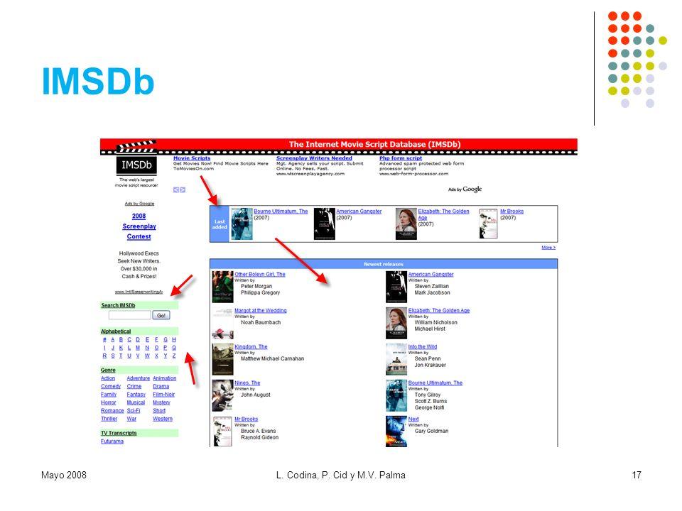 IMSDb Mayo 2008 L. Codina, P. Cid y M.V. Palma