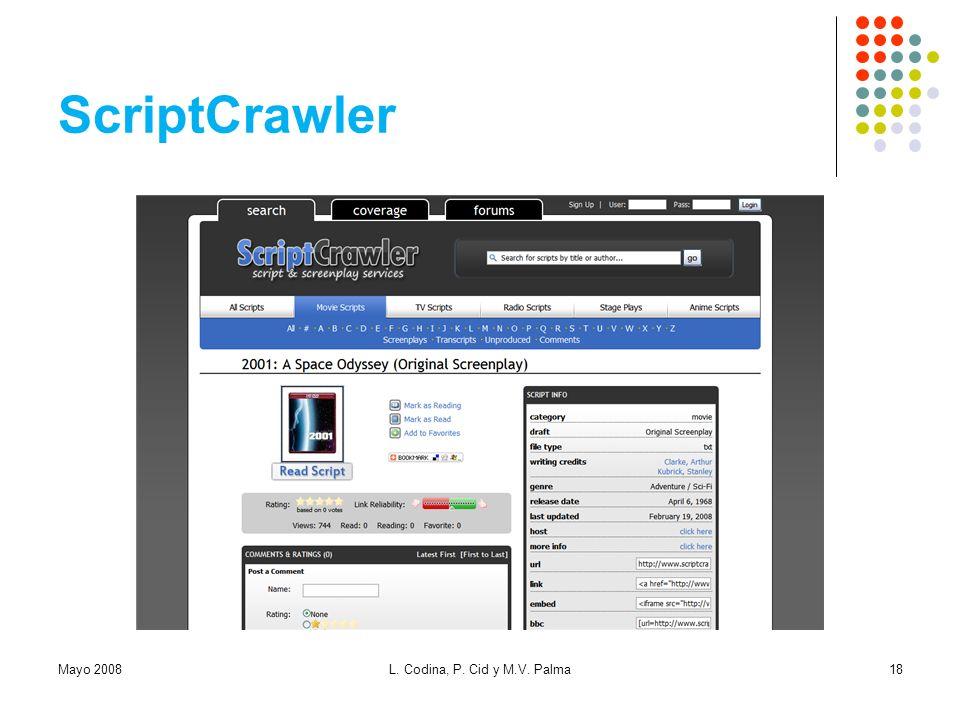 ScriptCrawler Mayo 2008 L. Codina, P. Cid y M.V. Palma
