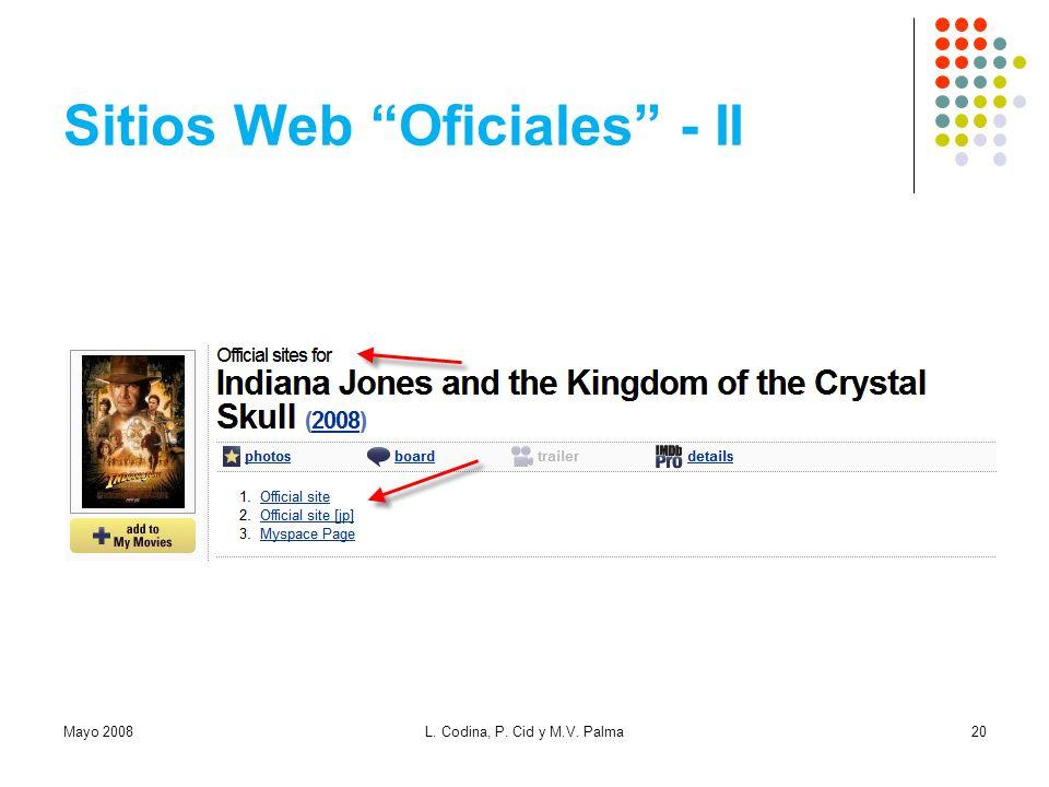 Sitios Web Oficiales - II