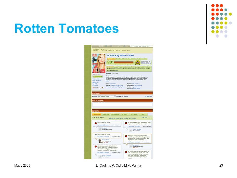 Rotten Tomatoes Mayo 2008 L. Codina, P. Cid y M.V. Palma