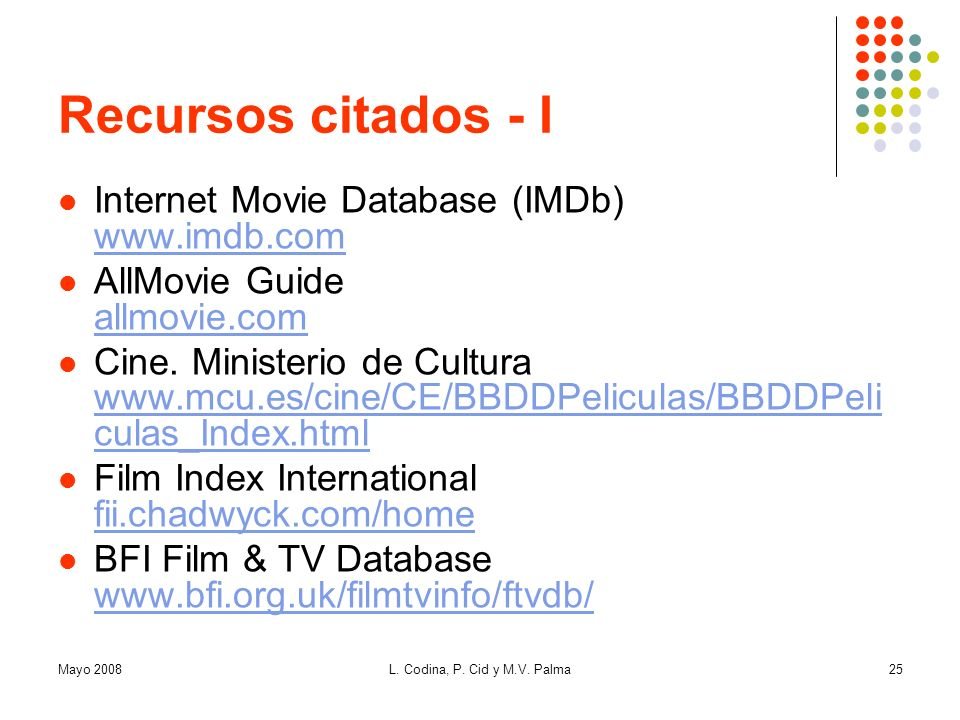 Recursos citados - I Internet Movie Database (IMDb) www.imdb.com