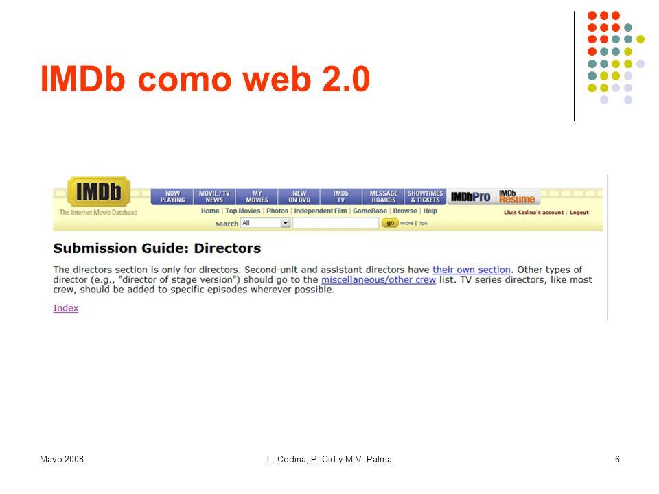 IMDb como web 2.0 Mayo 2008 L. Codina, P. Cid y M.V. Palma