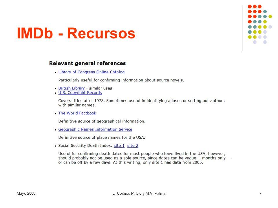 IMDb - Recursos Mayo 2008 L. Codina, P. Cid y M.V. Palma