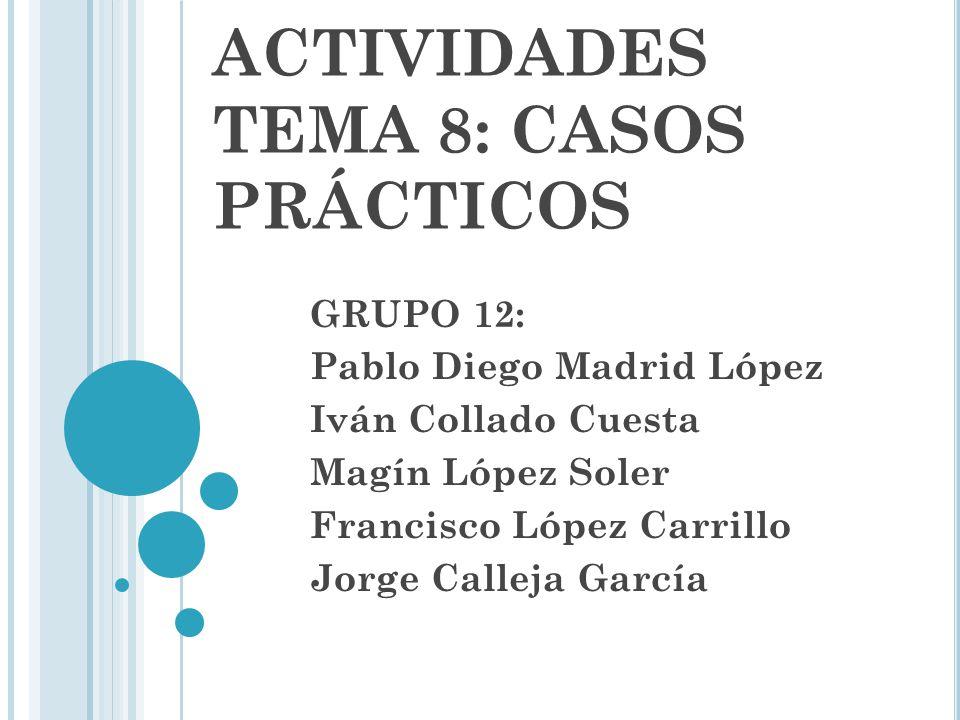 ACTIVIDADES TEMA 8: CASOS PRÁCTICOS