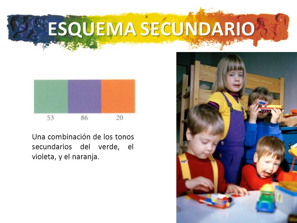 ESQUEMA SECUNDARIO Una combinación de los tonos secundarios del verde, el violeta, y el naranja.