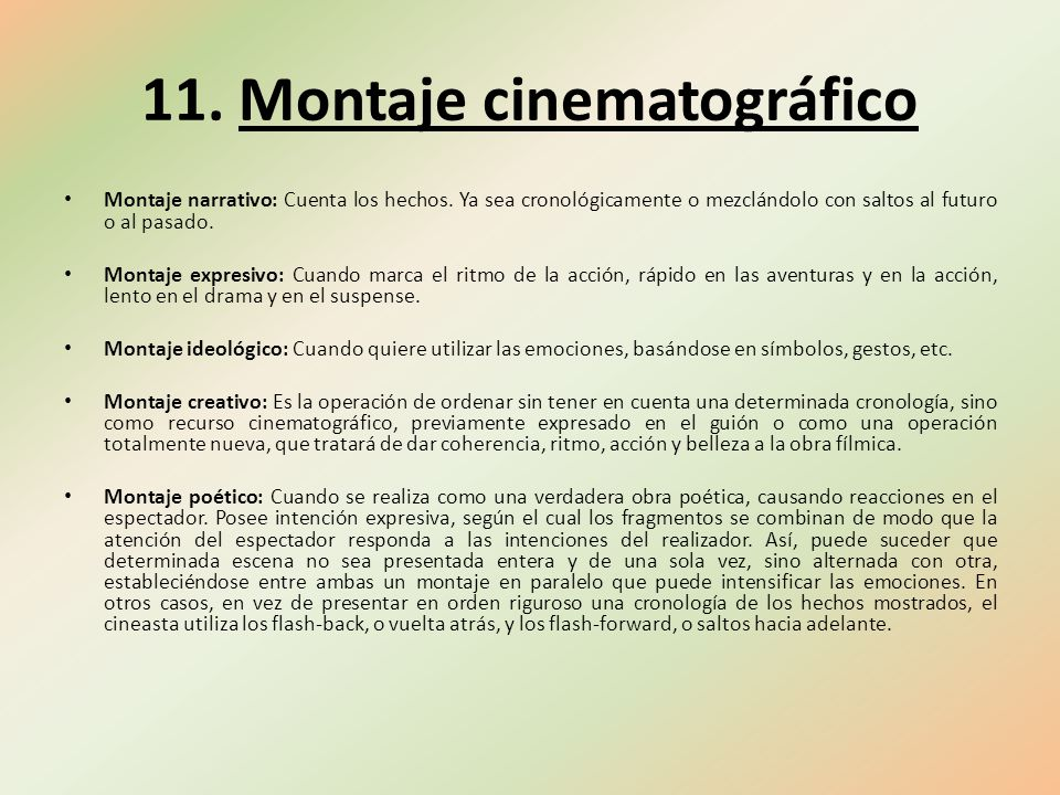 11. Montaje cinematográfico