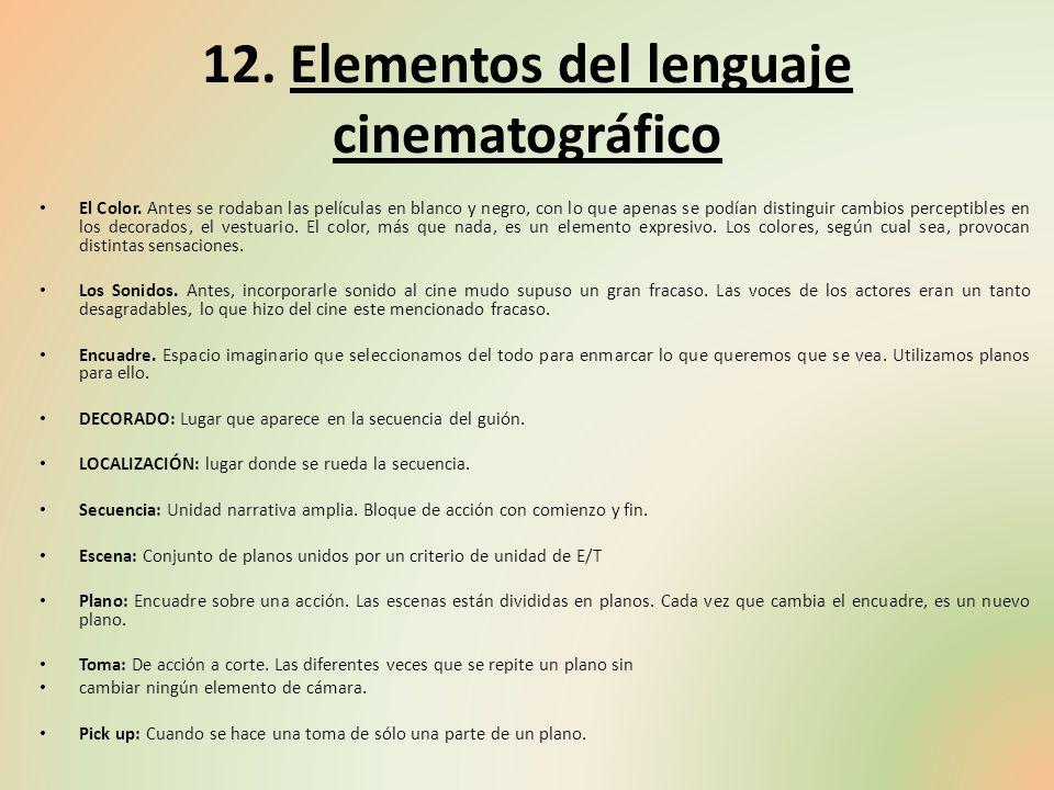 12. Elementos del lenguaje cinematográfico