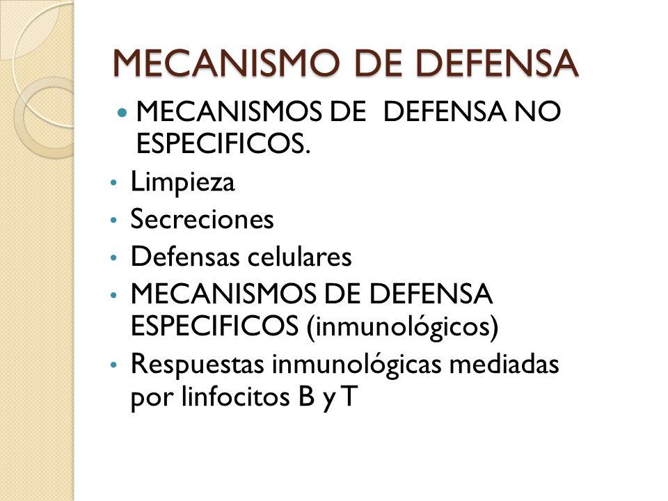 MECANISMO DE DEFENSA MECANISMOS DE DEFENSA NO ESPECIFICOS. Limpieza