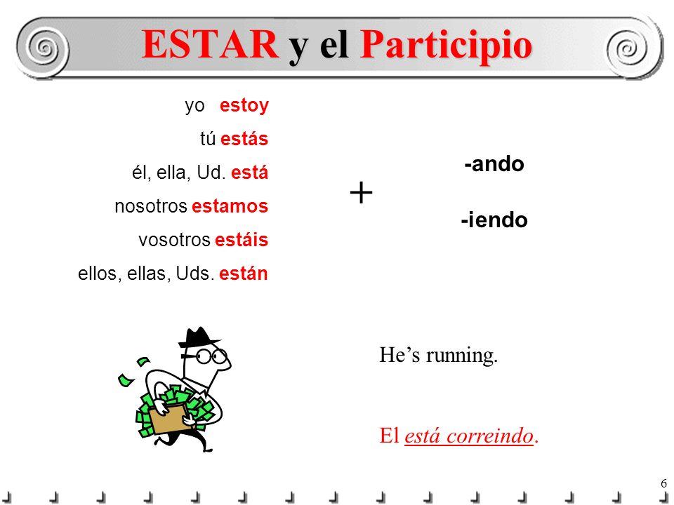 ESTAR y el Participio + -ando -iendo He's running. El está correindo.