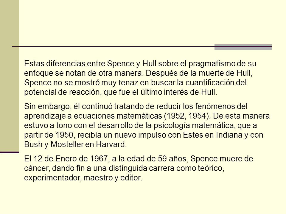 Estas diferencias entre Spence y Hull sobre el pragmatismo de su enfoque se notan de otra manera. Después de la muerte de Hull, Spence no se mostró muy tenaz en buscar la cuantificación del potencial de reacción, que fue el último interés de Hull.