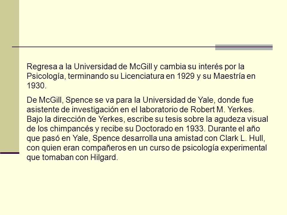 Regresa a la Universidad de McGill y cambia su interés por la Psicología, terminando su Licenciatura en 1929 y su Maestría en 1930.