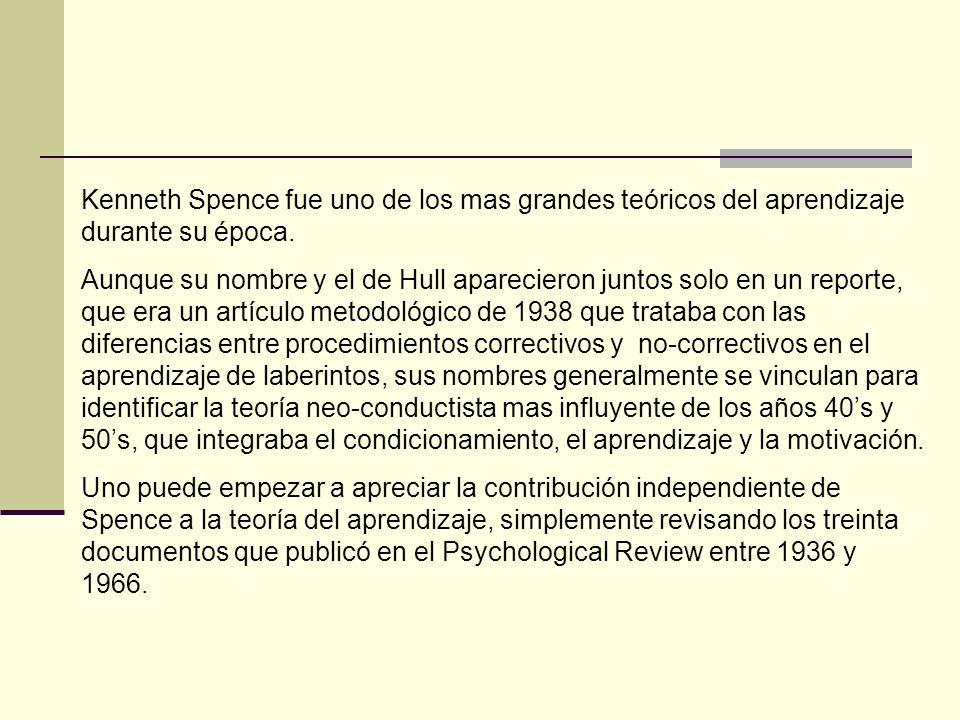 Kenneth Spence fue uno de los mas grandes teóricos del aprendizaje durante su época.