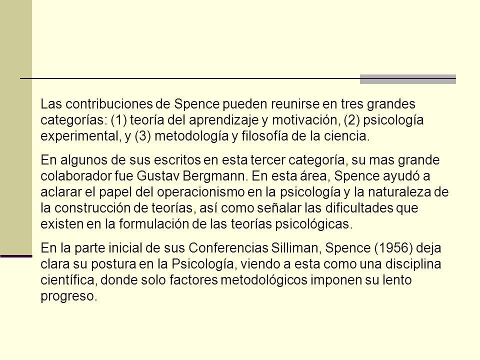 Las contribuciones de Spence pueden reunirse en tres grandes categorías: (1) teoría del aprendizaje y motivación, (2) psicología experimental, y (3) metodología y filosofía de la ciencia.