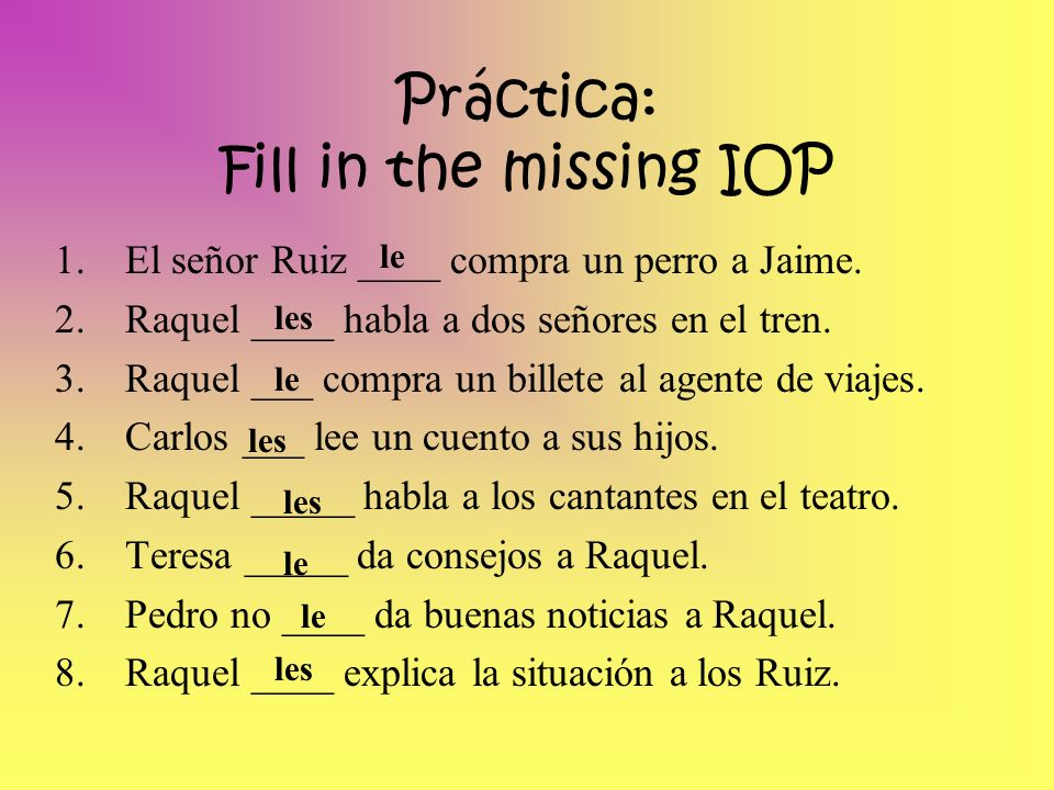 Práctica: Fill in the missing IOP