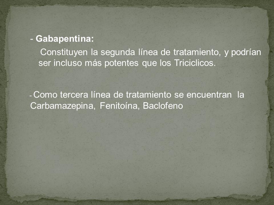 Carbamazepina, Fenitoína, Baclofeno