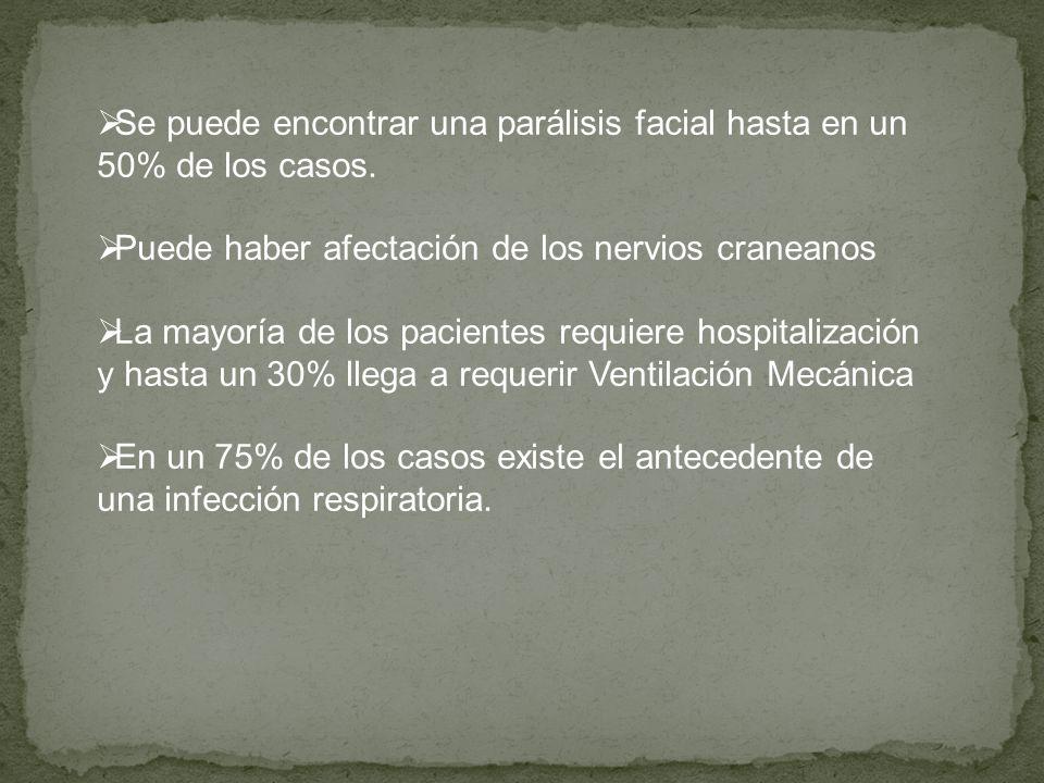Se puede encontrar una parálisis facial hasta en un 50% de los casos.