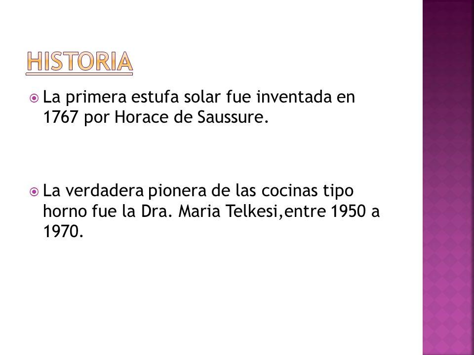 HISTORIA La primera estufa solar fue inventada en 1767 por Horace de Saussure.