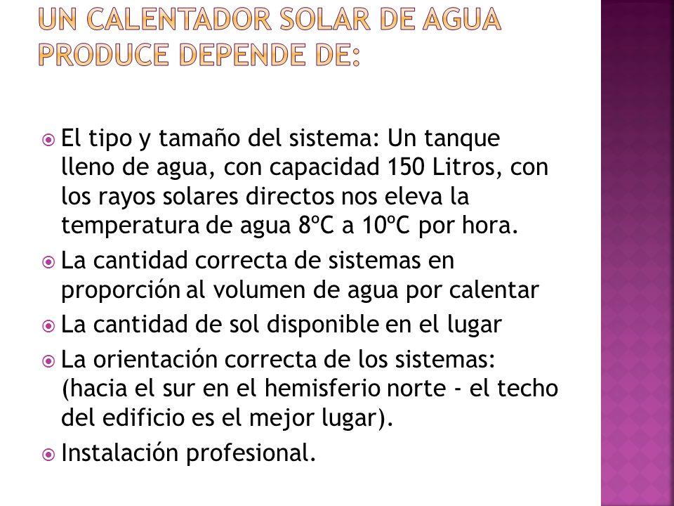 La cantidad de agua caliente que un calentador solar de agua produce depende de: