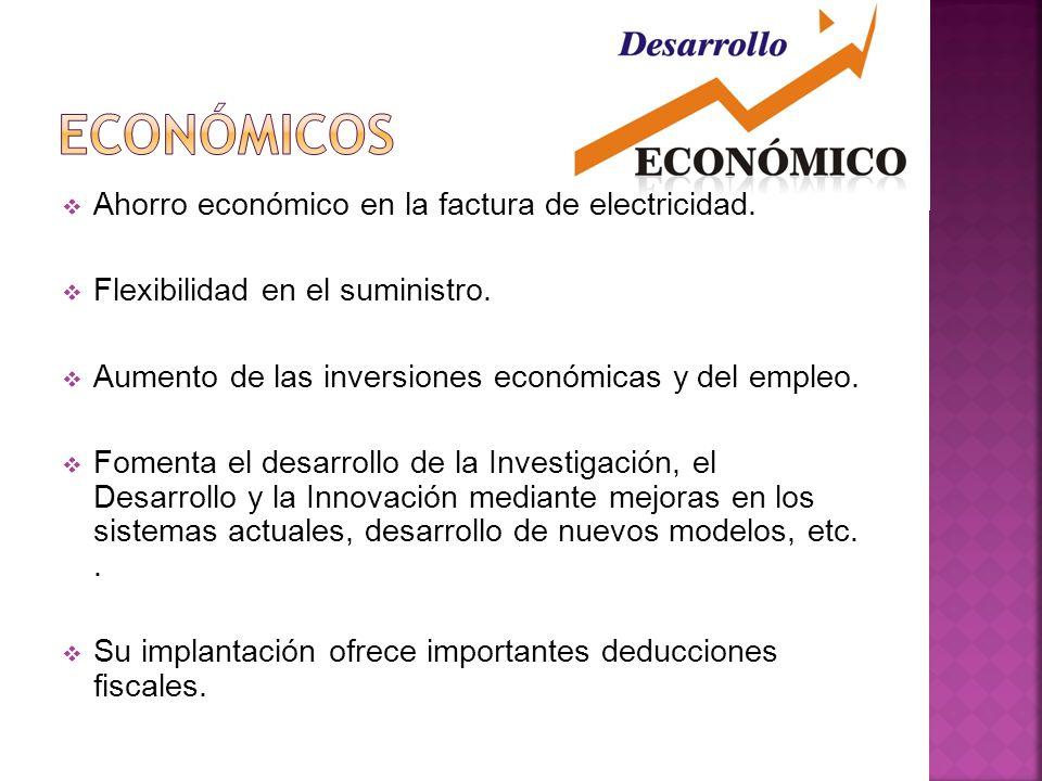 Económicos Ahorro económico en la factura de electricidad.