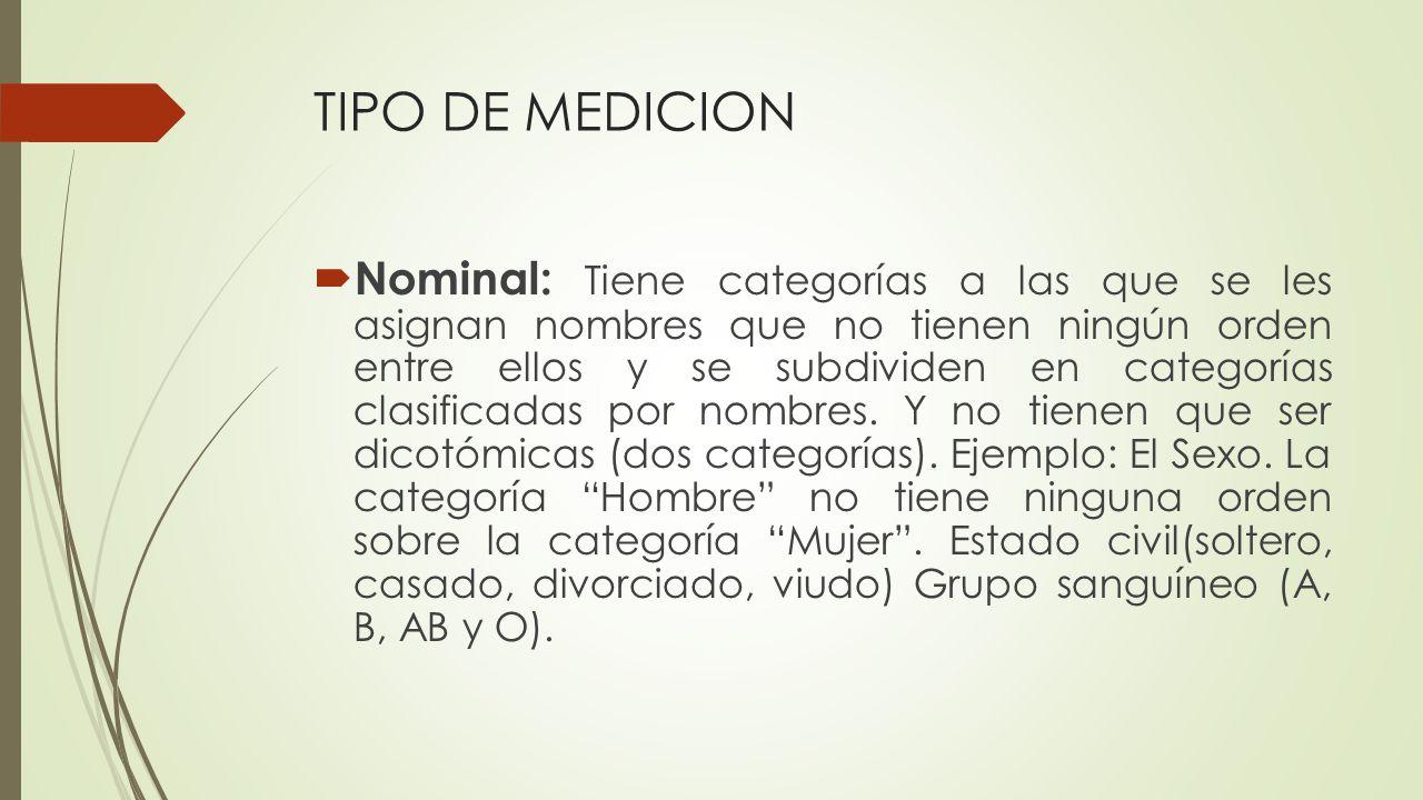 TIPO DE MEDICION
