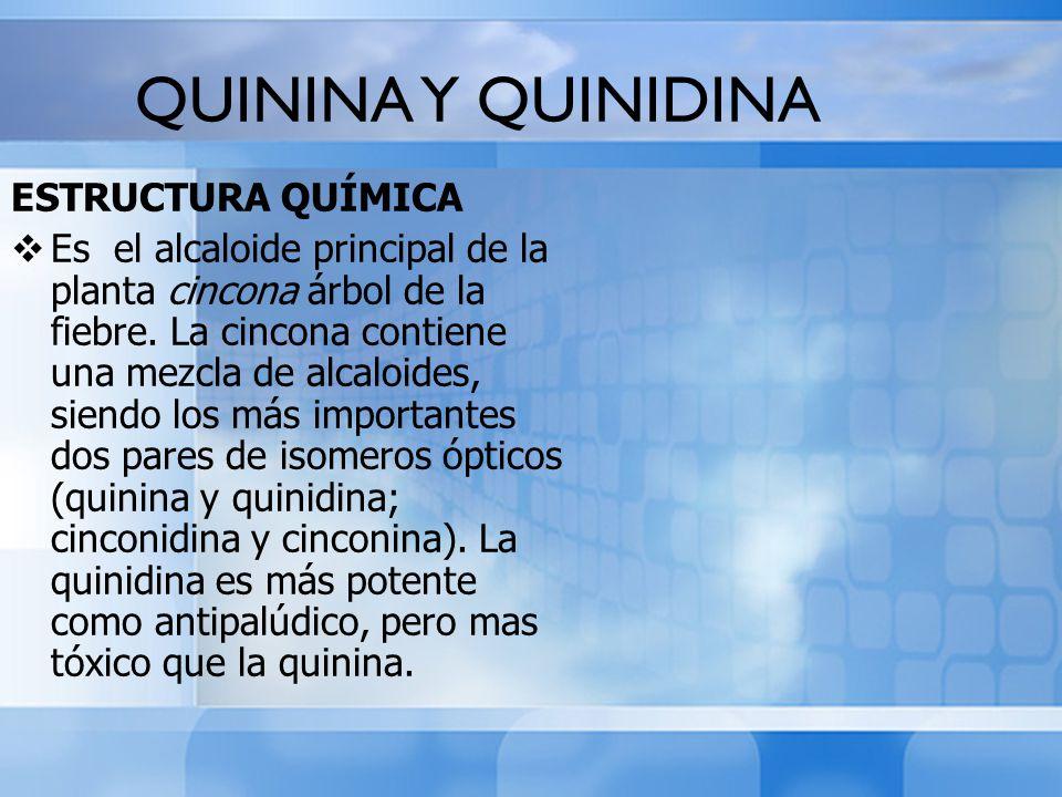 QUININA Y QUINIDINA ESTRUCTURA QUÍMICA