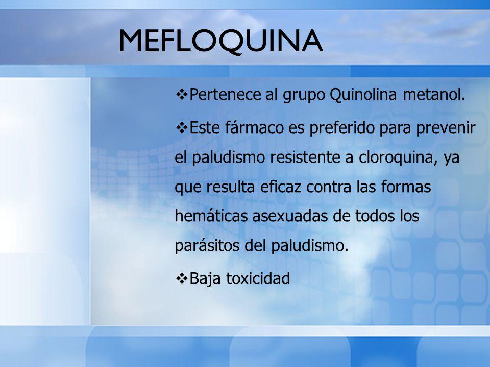 MEFLOQUINA Pertenece al grupo Quinolina metanol.