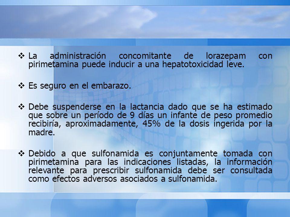 La administración concomitante de lorazepam con pirimetamina puede inducir a una hepatotoxicidad leve.