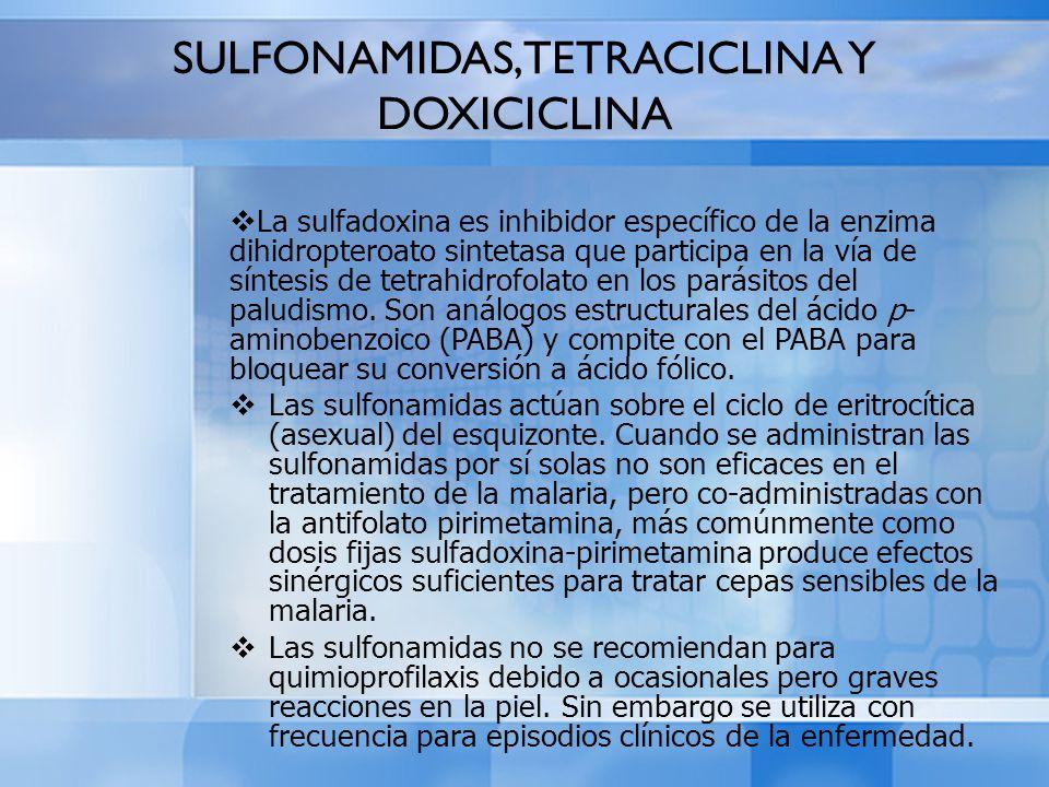SULFONAMIDAS, TETRACICLINA Y DOXICICLINA