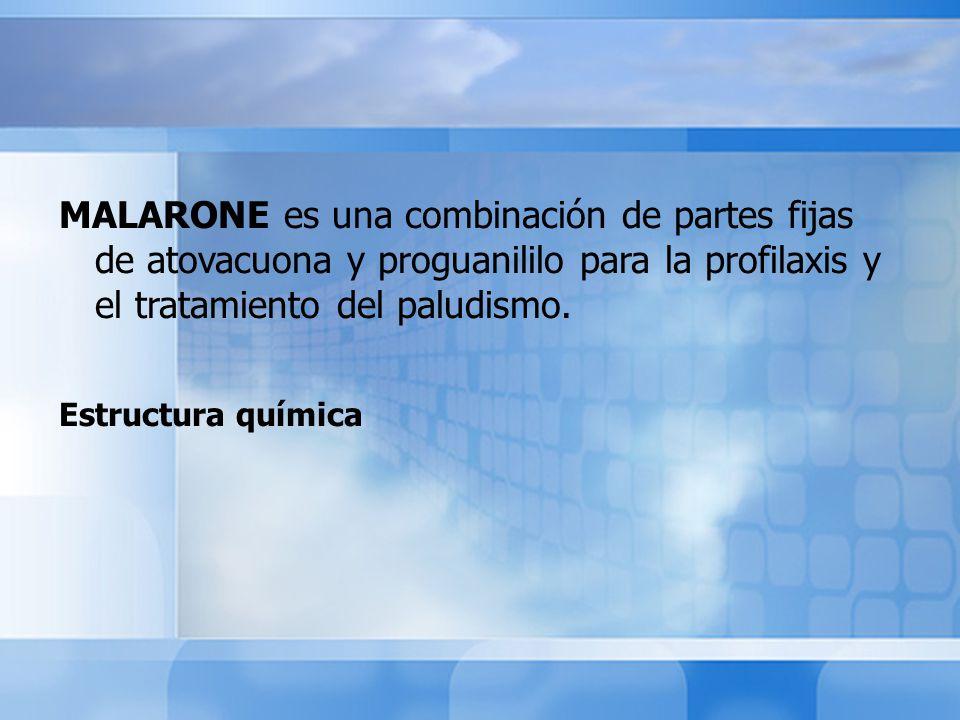MALARONE es una combinación de partes fijas de atovacuona y proguanililo para la profilaxis y el tratamiento del paludismo.