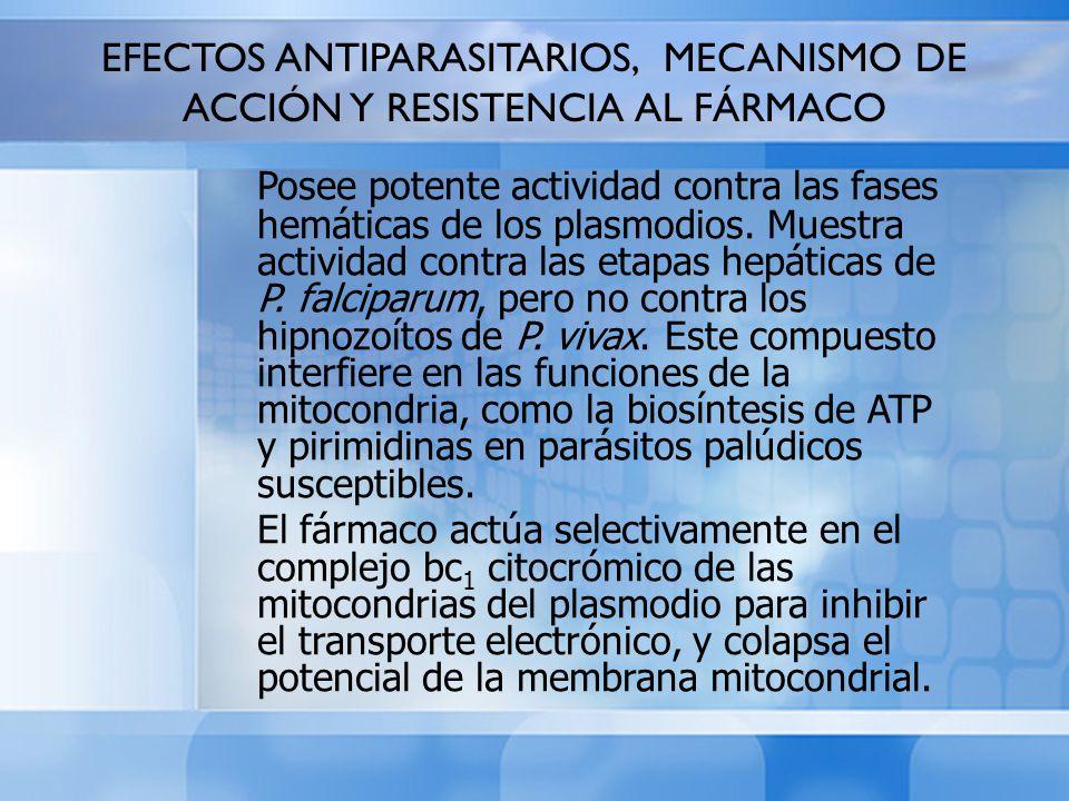 EFECTOS ANTIPARASITARIOS, MECANISMO DE ACCIÓN Y RESISTENCIA AL FÁRMACO