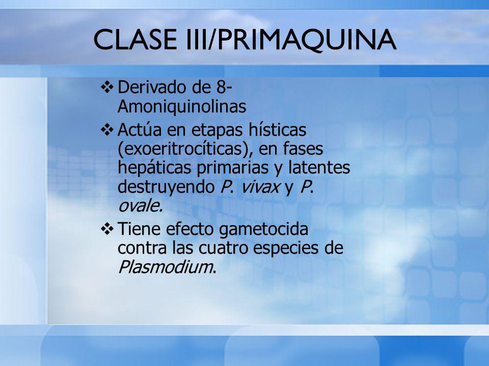 CLASE III/PRIMAQUINA Derivado de 8-Amoniquinolinas