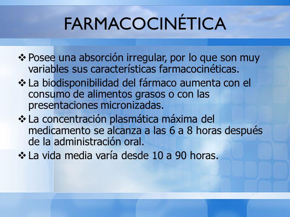 FARMACOCINÉTICA Posee una absorción irregular, por lo que son muy variables sus características farmacocinéticas.