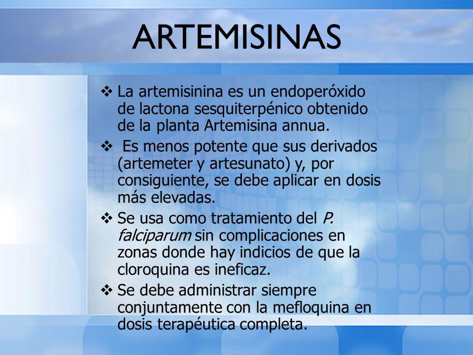 ARTEMISINAS La artemisinina es un endoperóxido de lactona sesquiterpénico obtenido de la planta Artemisina annua.
