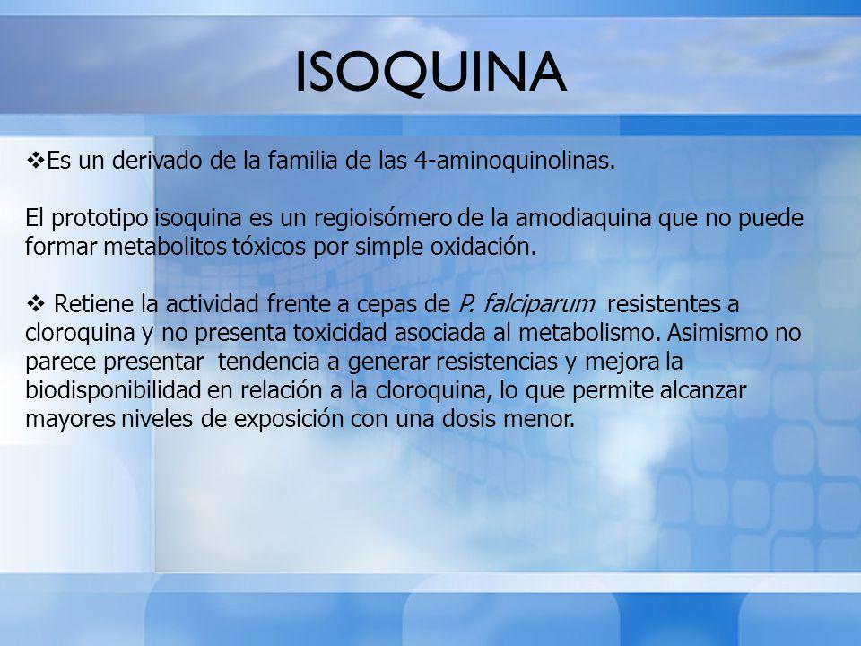 ISOQUINA Es un derivado de la familia de las 4-aminoquinolinas.