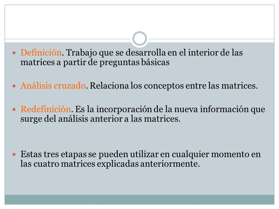 Definición. Trabajo que se desarrolla en el interior de las matrices a partir de preguntas básicas