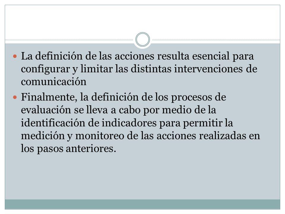 La definición de las acciones resulta esencial para configurar y limitar las distintas intervenciones de comunicación