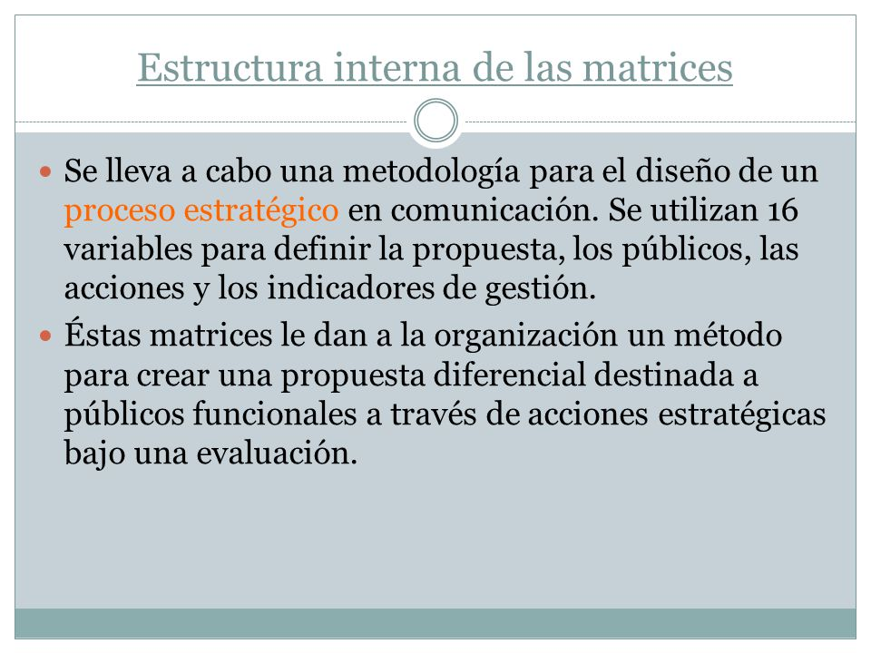 Estructura interna de las matrices