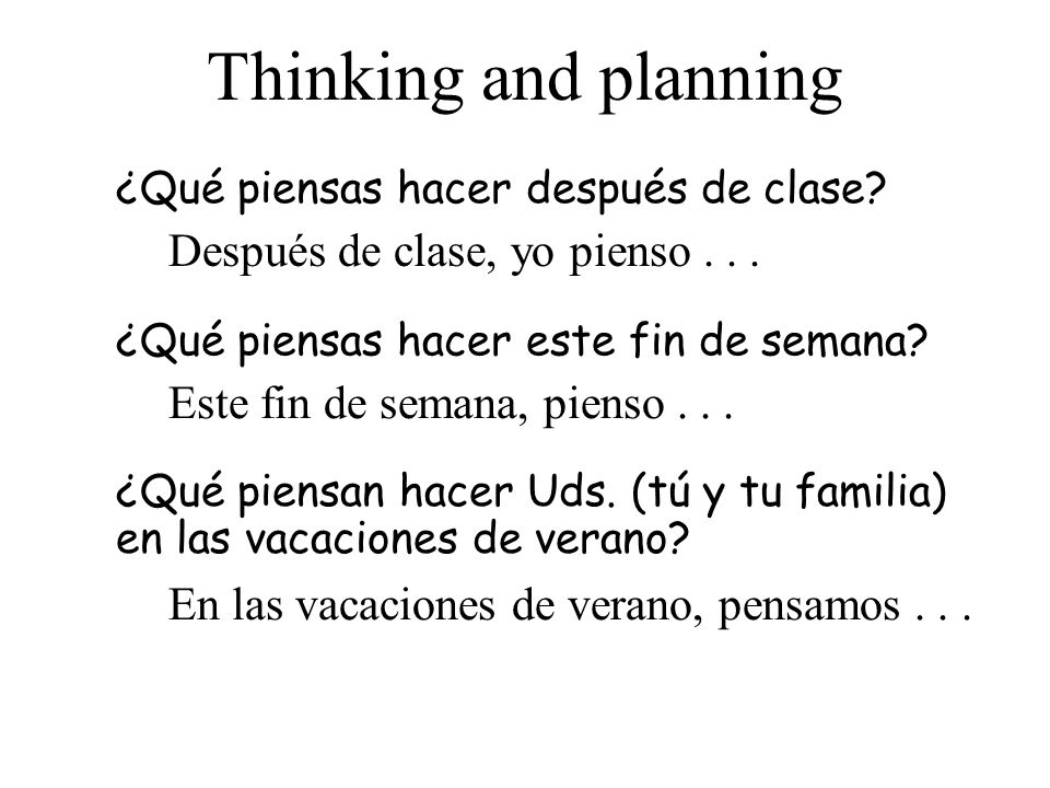 Thinking and planning Después de clase, yo pienso . . .