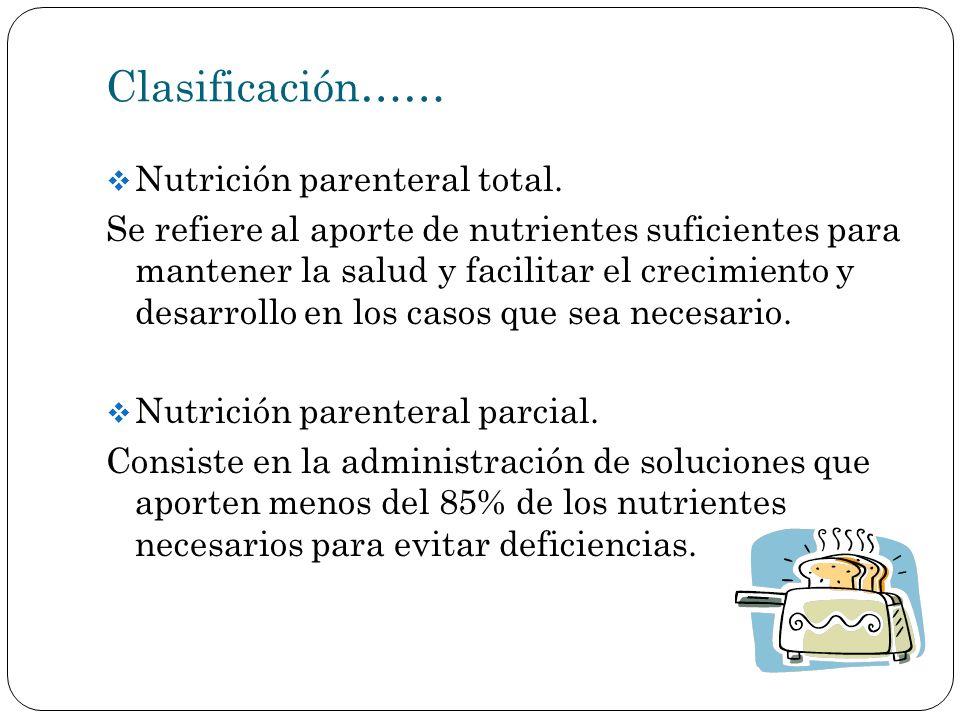 Clasificación…… Nutrición parenteral total.