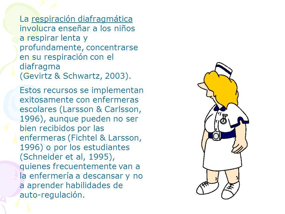 La respiración diafragmática involucra enseñar a los niños a respirar lenta y profundamente, concentrarse en su respiración con el diafragma (Gevirtz & Schwartz, 2003).