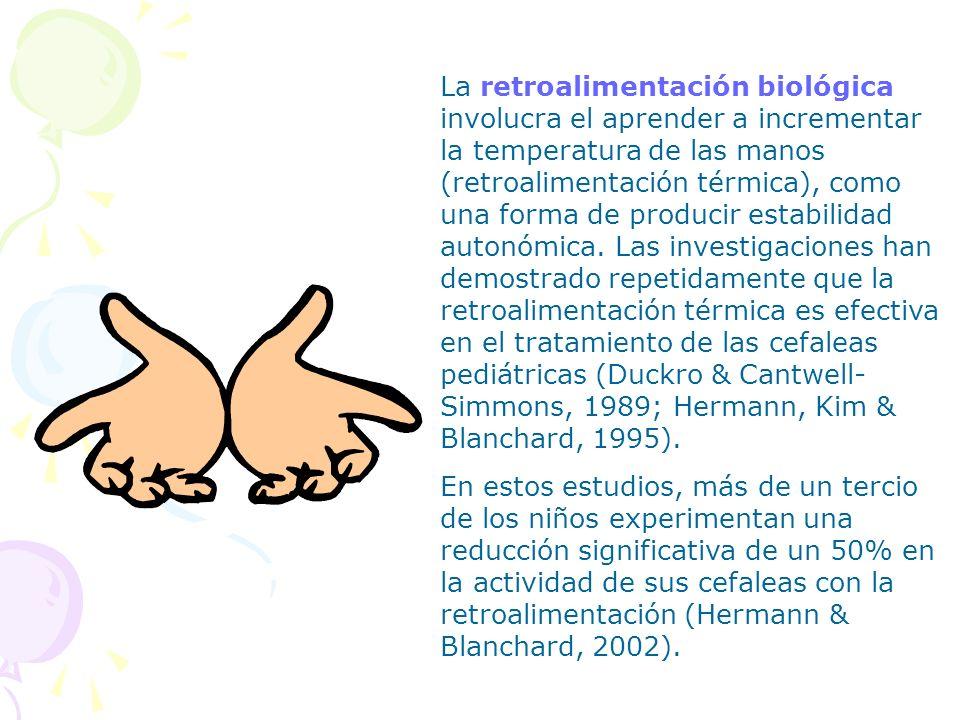 La retroalimentación biológica involucra el aprender a incrementar la temperatura de las manos (retroalimentación térmica), como una forma de producir estabilidad autonómica. Las investigaciones han demostrado repetidamente que la retroalimentación térmica es efectiva en el tratamiento de las cefaleas pediátricas (Duckro & Cantwell-Simmons, 1989; Hermann, Kim & Blanchard, 1995).