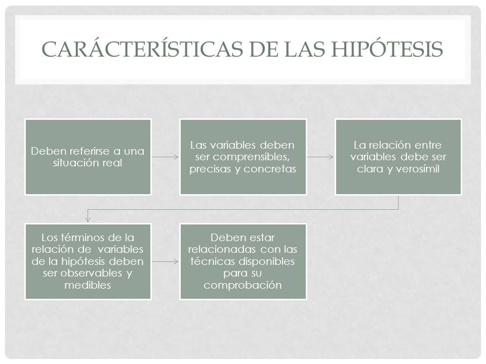 CARÁCTERÍSTICAS DE LAS HIPÓTESIS